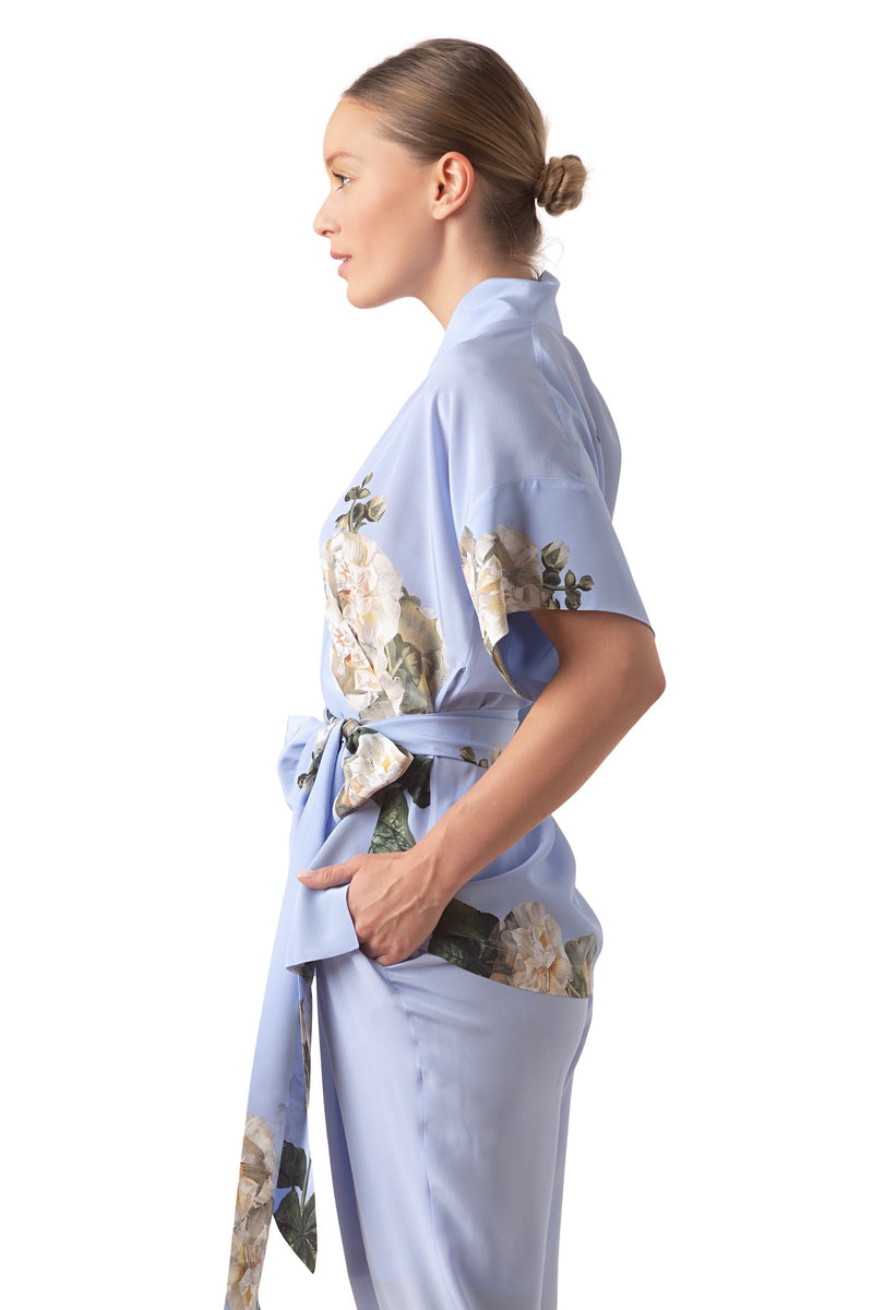 Silk Wrap top sky blue ''Fleur Blanche'' - House of Castlebird Rose