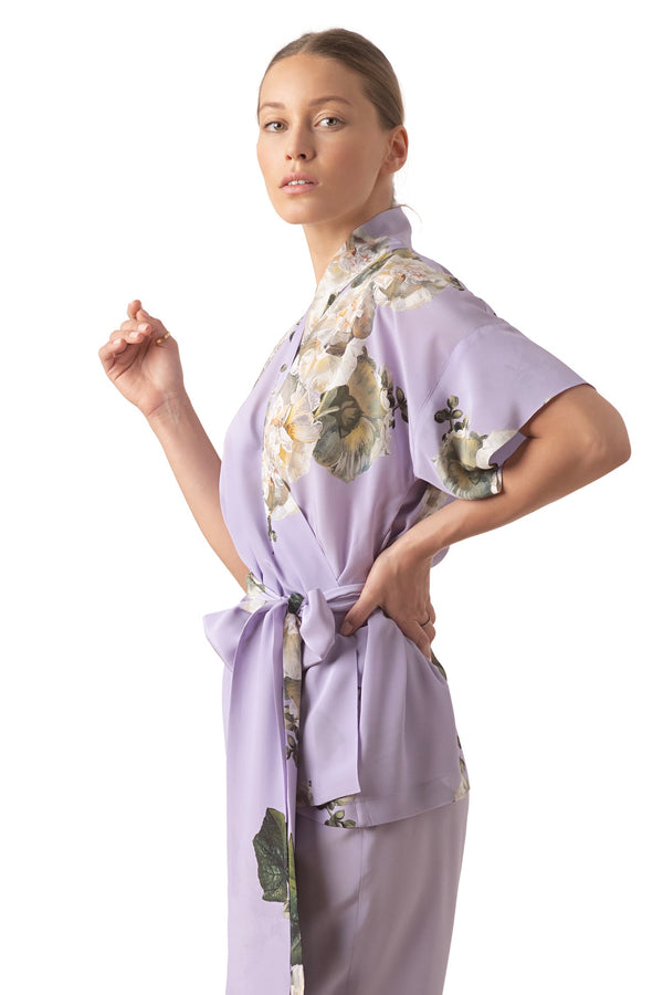 Silk Wrap top lavender ''Fleur Blanche'' - House of Castlebird Rose