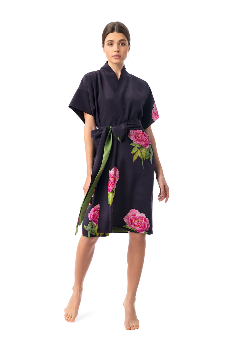 Silk wrap dress midnight blue ''La Pivoine'' - House of Castlebird Rose