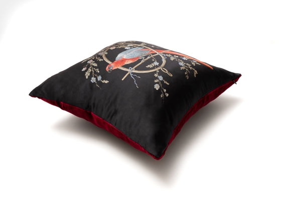 Silk Cushion Black ''Le Perroquet'' - Castlebird Rose