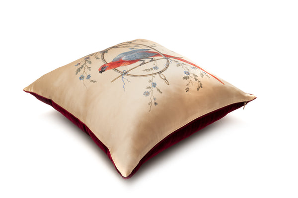 Silk Cushion Gold ''Le Perroquet'' - Castlebird Rose