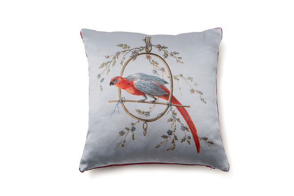Silk Cushion Smoke Blue ''Le Perroquet'' - Castlebird Rose