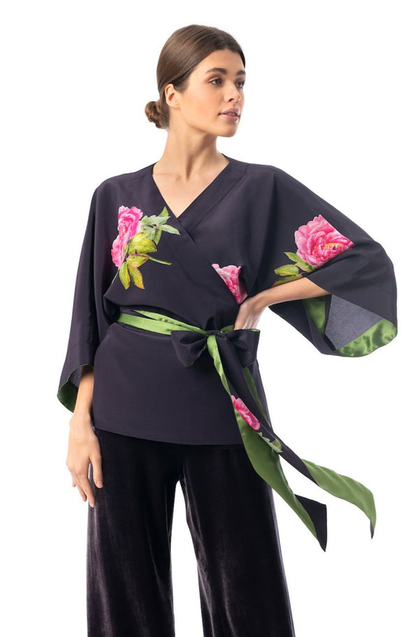 Silk kimono top midnight blue ''La Pivoine'' - Castlebird Rose