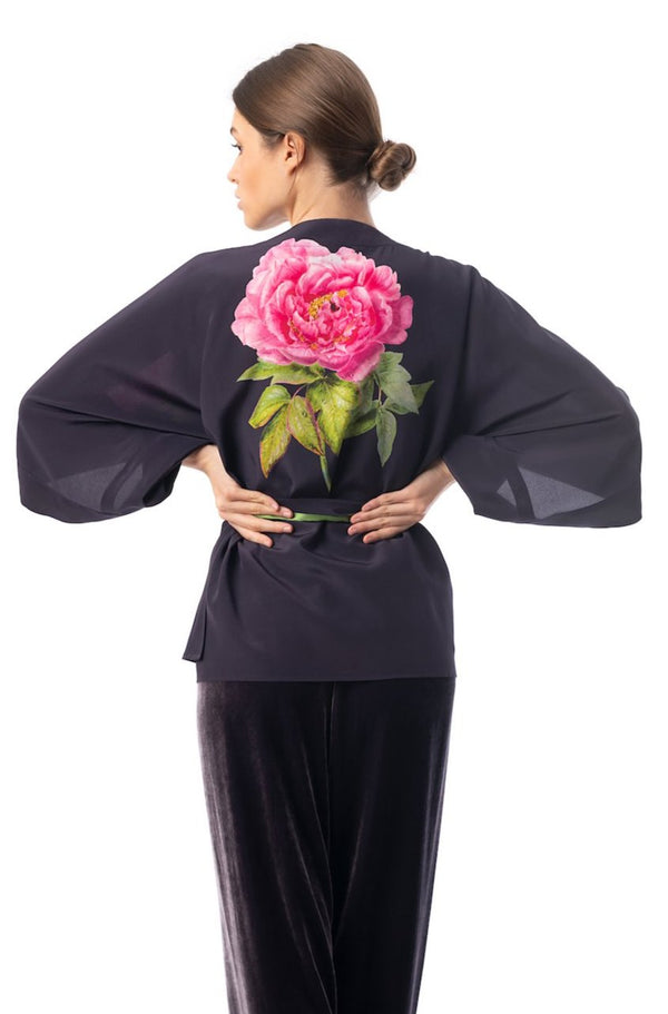 Silk kimono top midnight blue ''La Pivoine'' - House of Castlebird Rose