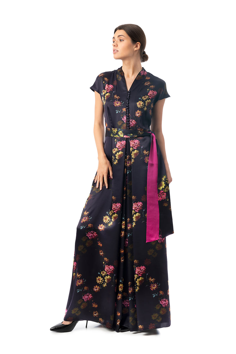 Silk semi-casual dress, deep purple ''Paris 1927'' - House of Castlebird Rose