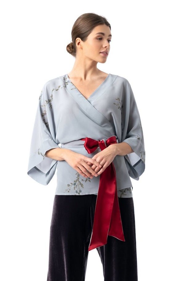 Silk kimono top smoke blue ''Le Perroquet'' - House of Castlebird Rose