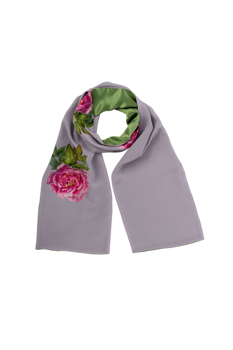 Silk Scarf Pearl Gray and Green ''La Pivoine'' - House of Castlebird Rose
