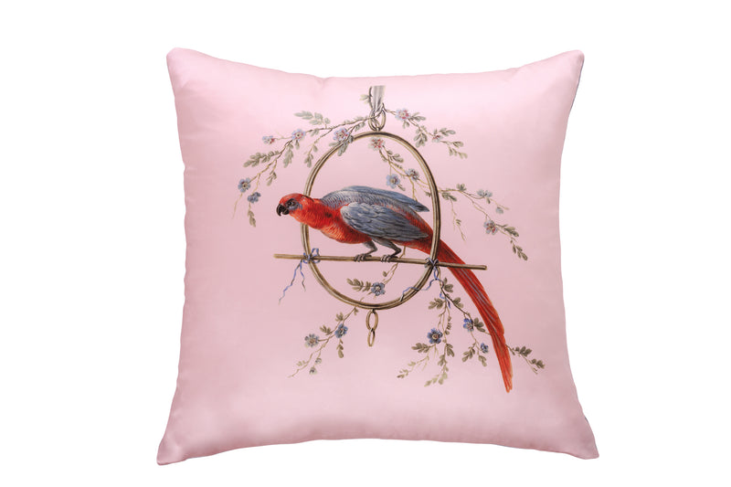 Silk Cushion French Pink ''Le Perroquet'' - Castlebird Rose