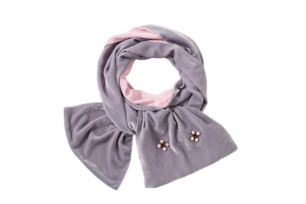 Velvet Weekend Scarf Water Gray and Pink - House of Castlebird Rose
