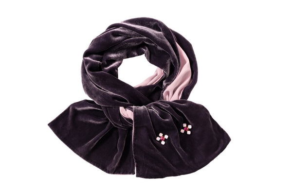 Velvet Weekend Scarf Deep Purple and Pink - House of Castlebird Rose