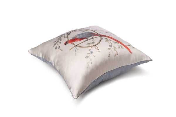 Silk Cushion silver ''Le Perroquet'' - Castlebird Rose