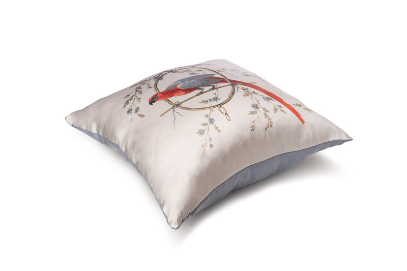 Cushion silver ''Le Perroquet'' - Castlebird Rose