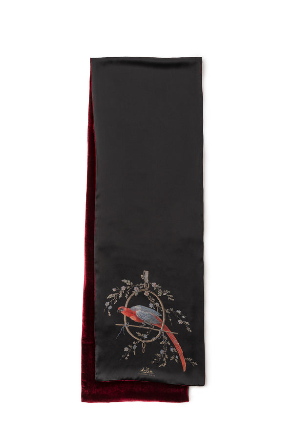 Scarf Black ''Le Perroquet'' - House of Castlebird Rose