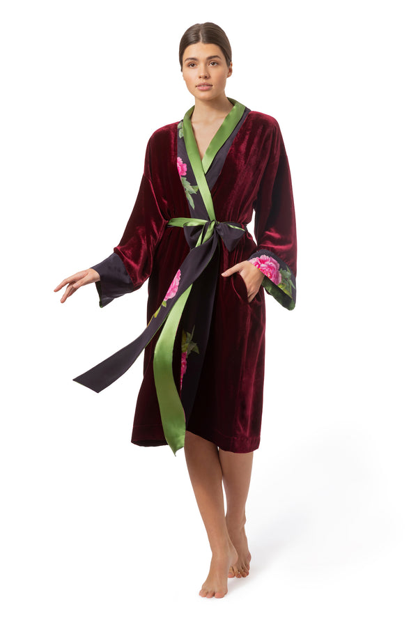 "Christmas Robe Bordeaux Red ""Velvet Weekend"" - House of Castlebird Rose"