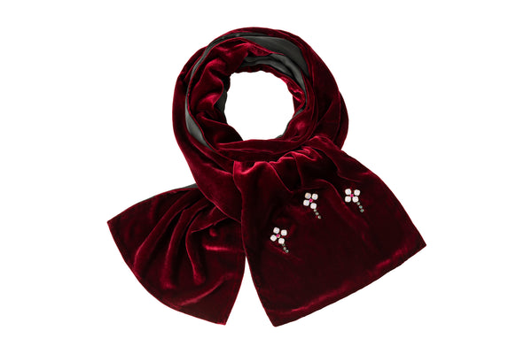 Velvet Weekend Scarf Bordeaux Red - House of Castlebird Rose