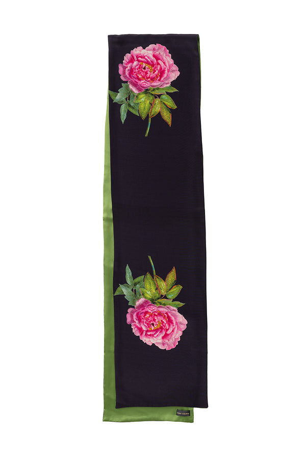 Silk Scarf Midnight Blue and Green ''La Pivoine'' - Castlebird Rose