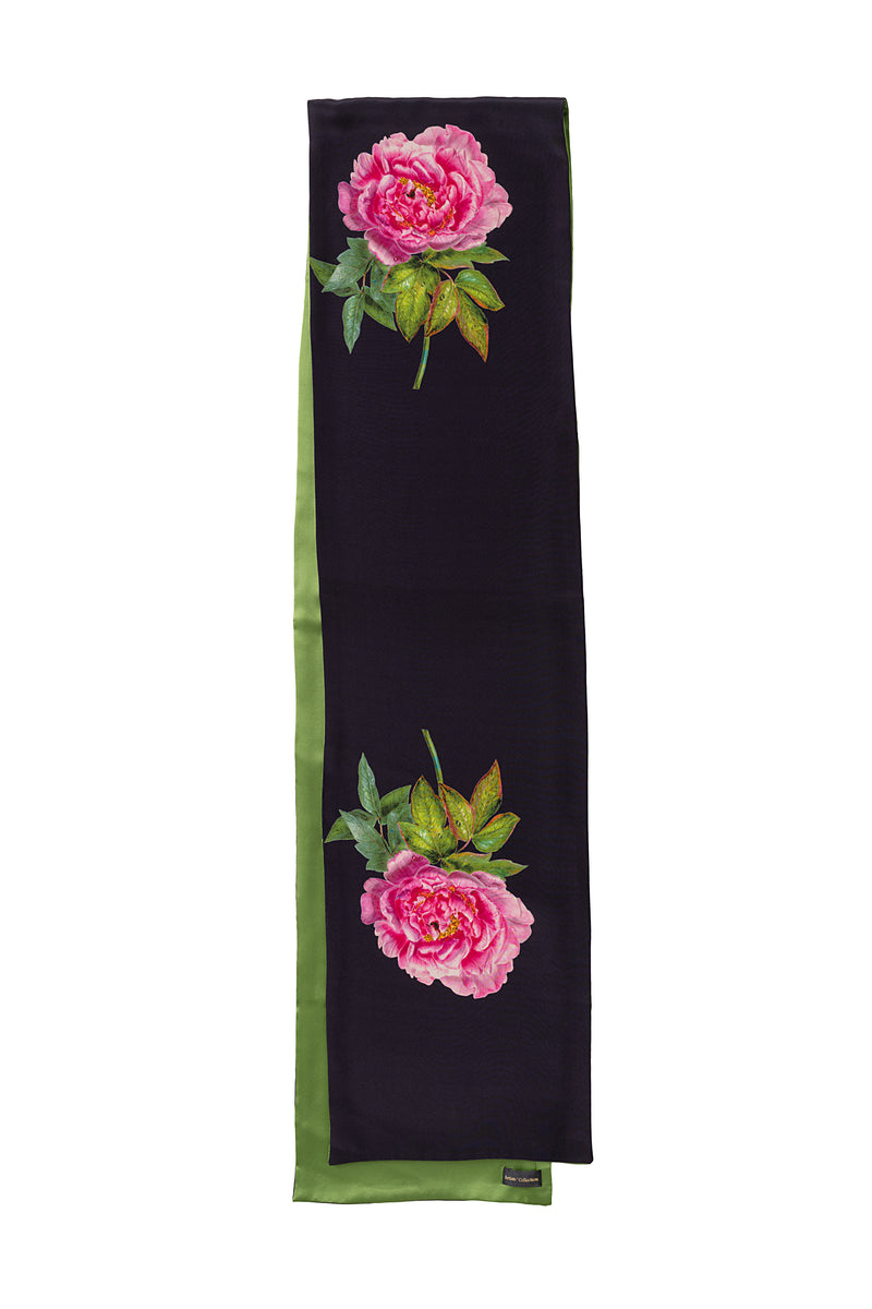 Silk Scarf Midnight Blue and Green ''La Pivoine'' - House of Castlebird Rose