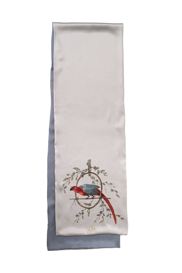 ''Le Perroquet'' Scarf Silver and Pearl Gray - Castlebird Rose