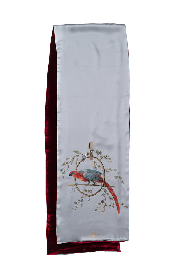 ''Le Perroquet'' Scarf Light Blue and Bordeaux Red - Castlebird Rose