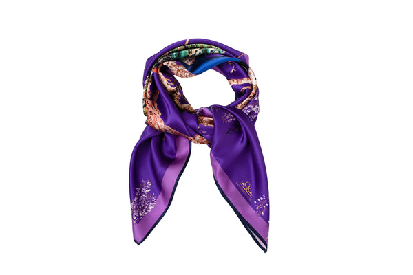 Peacock scarf royal purple - House of Castlebird Rose
