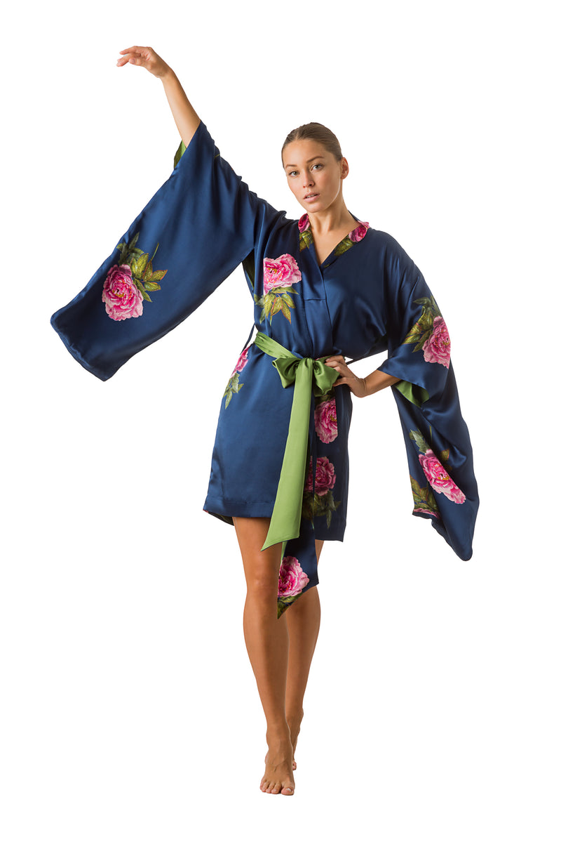 Mini silk kimono royal blue ''La Pivoine'' - House of Castlebird Rose