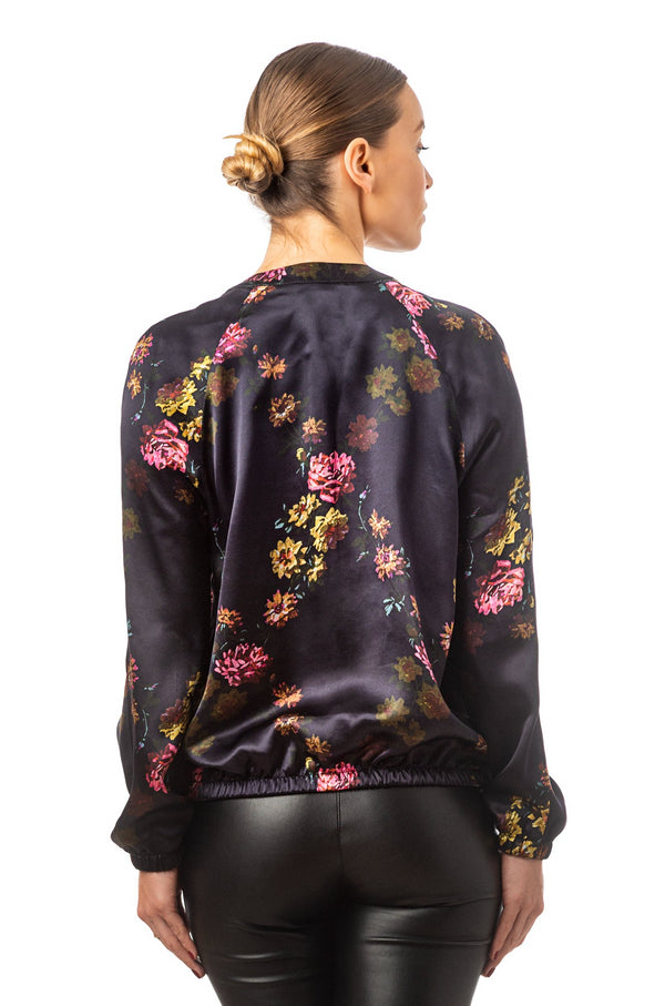 ''Paris 1927'' Silk bomber jacket deep purple - Castlebird Rose