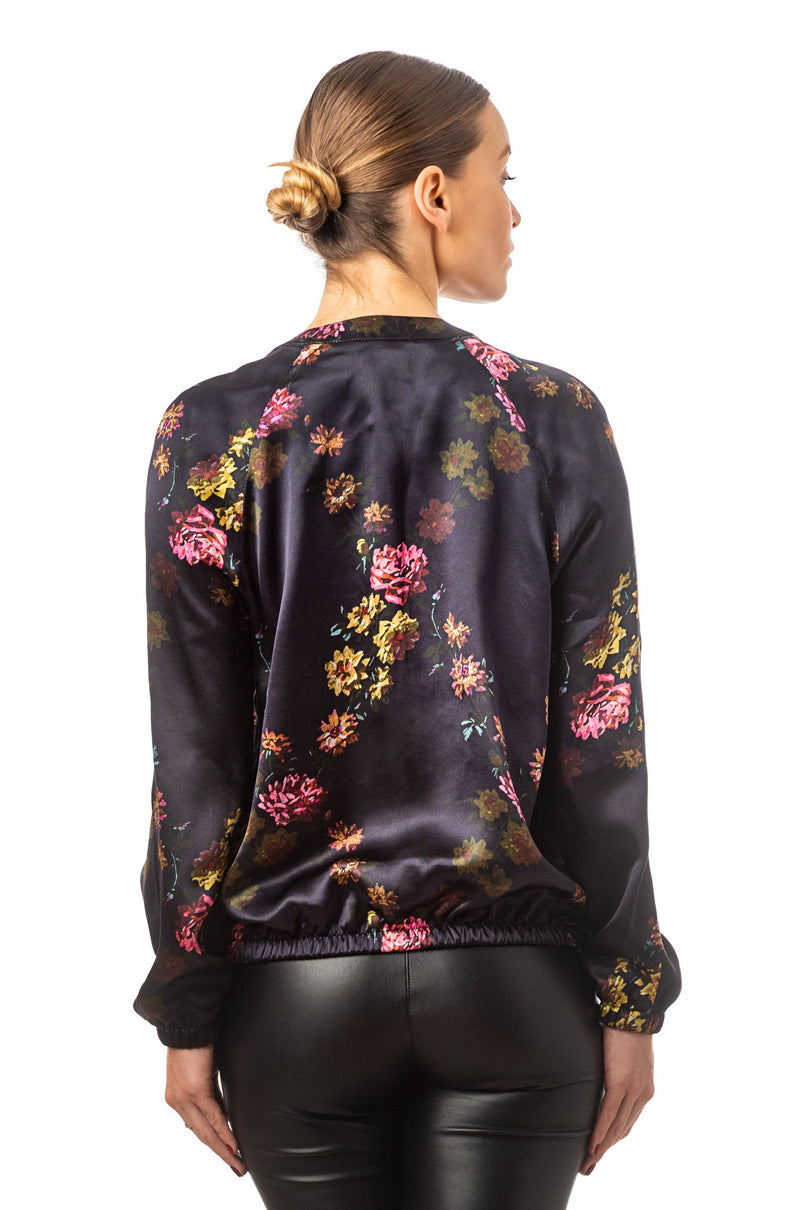 Silk bomber jacket deep purple ''Paris 1927'' - Castlebird Rose
