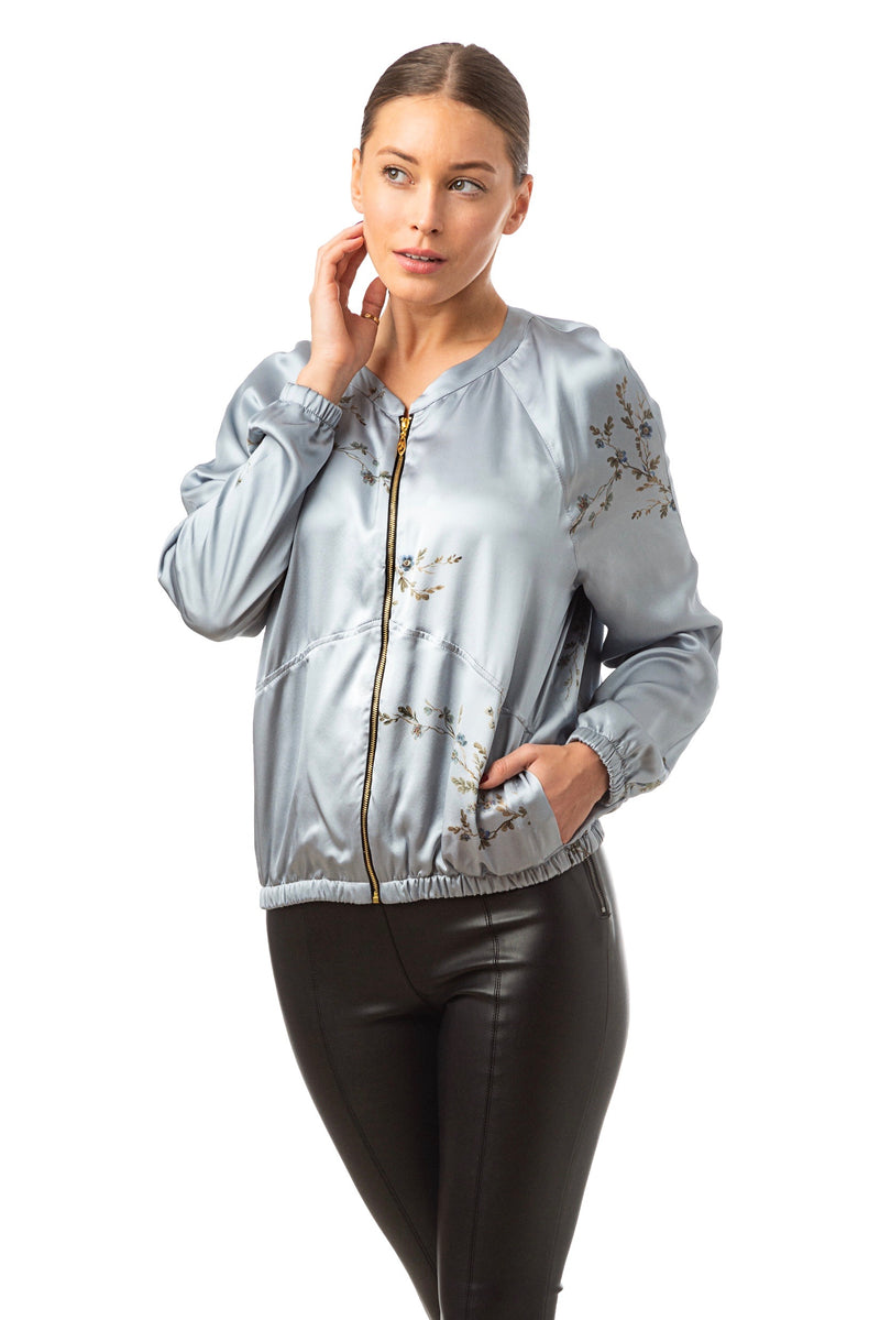 Silk bomber jacket smoke blue ''Le Perroquet'' - House of Castlebird Rose