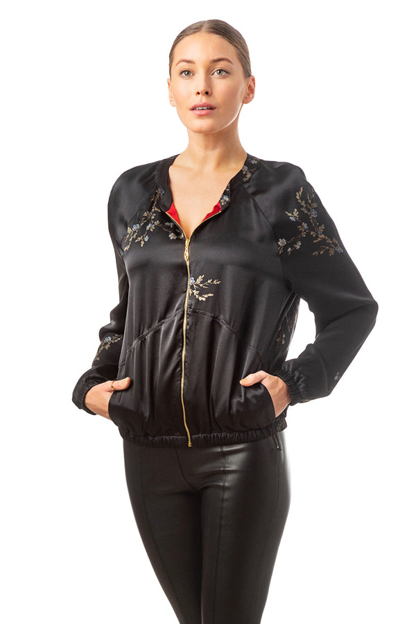 ''Le Perroquet'' Silk bomber jacket black - Castlebird Rose