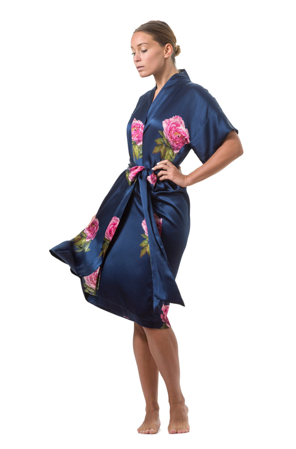 Silk wrap dress royal blue ''La Pivoine'' - House of Castlebird Rose