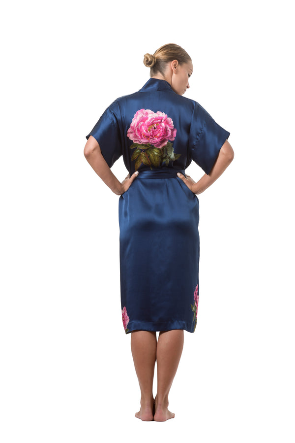 Silk wrap dress royal blue ''La Pivoine'' - Castlebird Rose