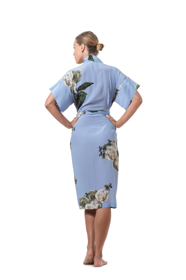 ''Fleur Blanche'' Short wrap dress sky blue - Castlebird Rose