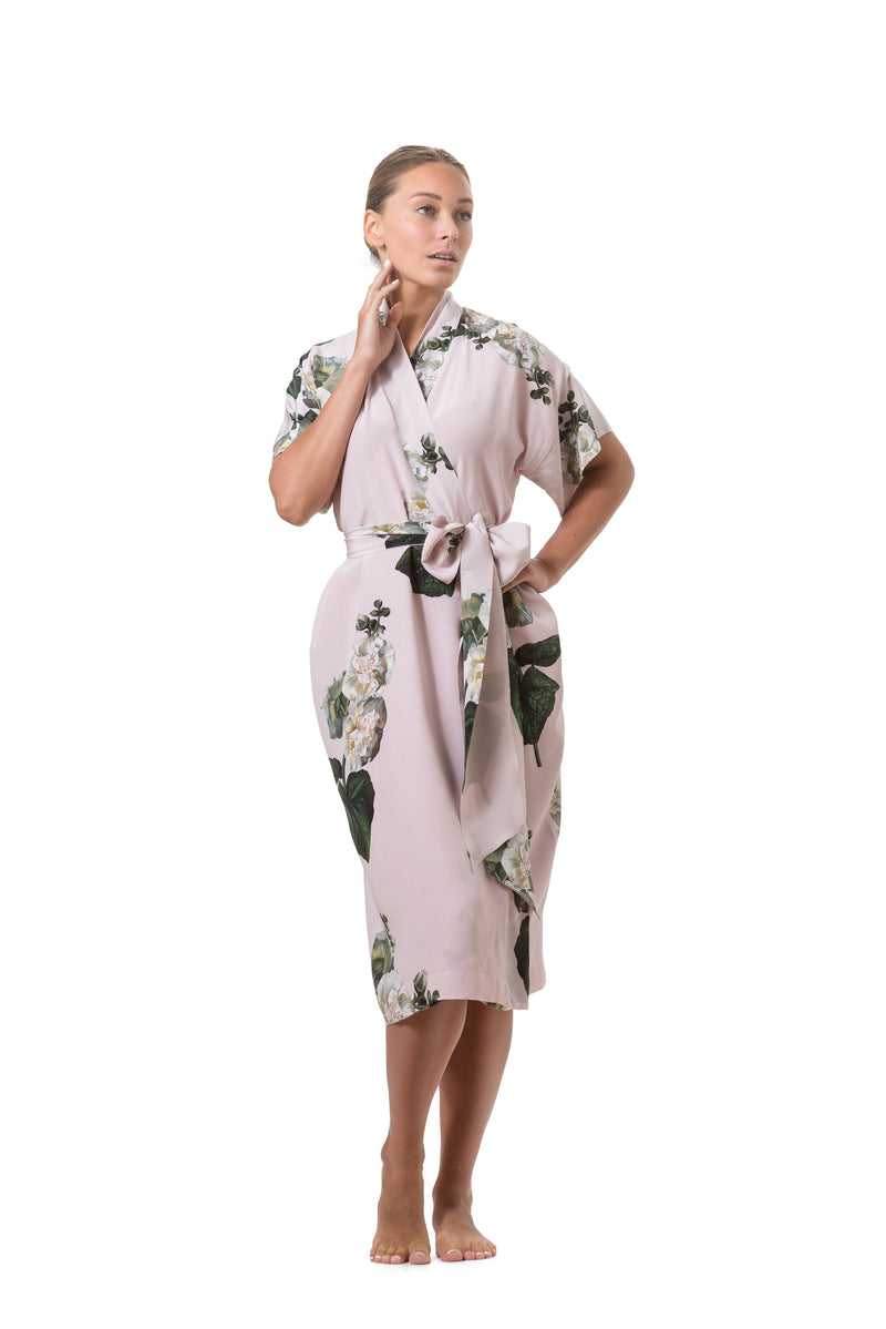 ''Fleur Blanche'' Short wrap dress pastel pink - Castlebird Rose