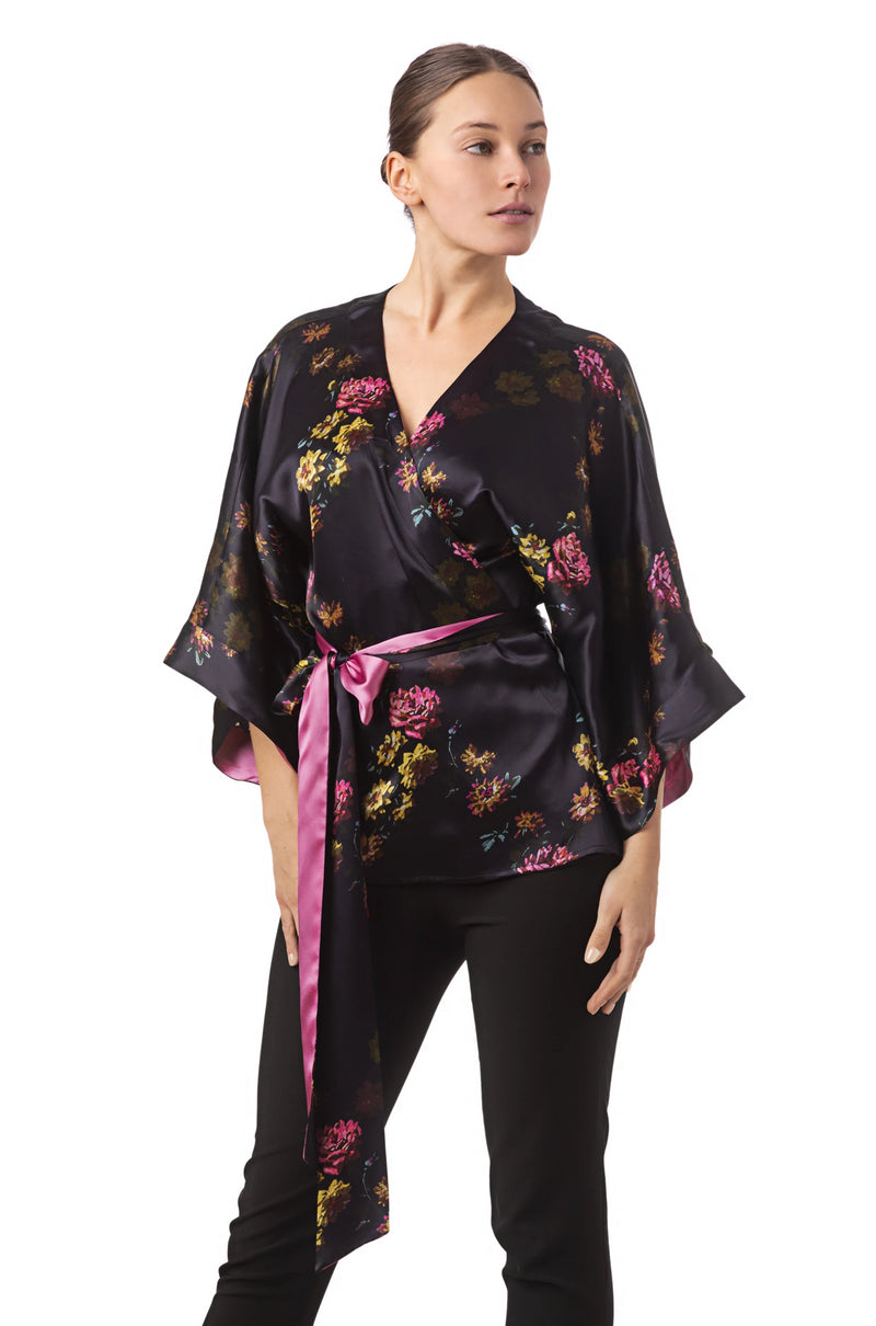 Silk kimono top deep purple ''Paris 1927'' - Castlebird Rose