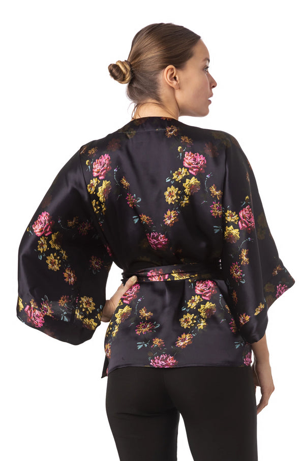 ''Paris 1927'' Silk kimono top deep purple - Castlebird Rose