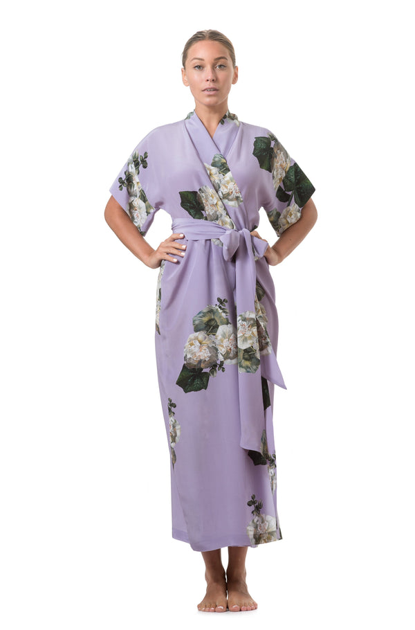 Long wrap dress lilac - Castlebird Rose