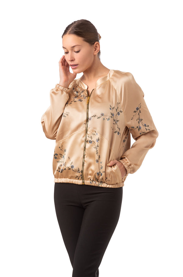 ''Le Perroquet'' Silk bomber jacket sunset gold - Castlebird Rose
