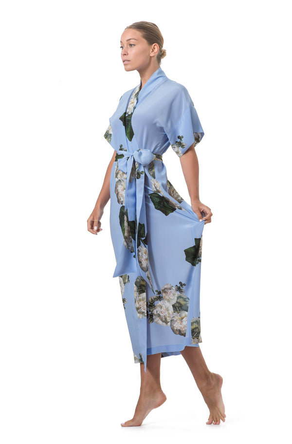 Long wrap dress sky blue - Castlebird Rose