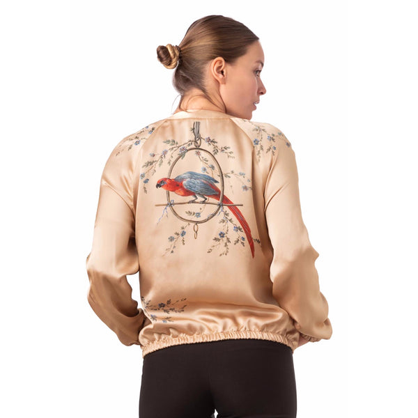 Silk bomber jacket sunset gold ''Le Perroquet'' - House of Castlebird Rose