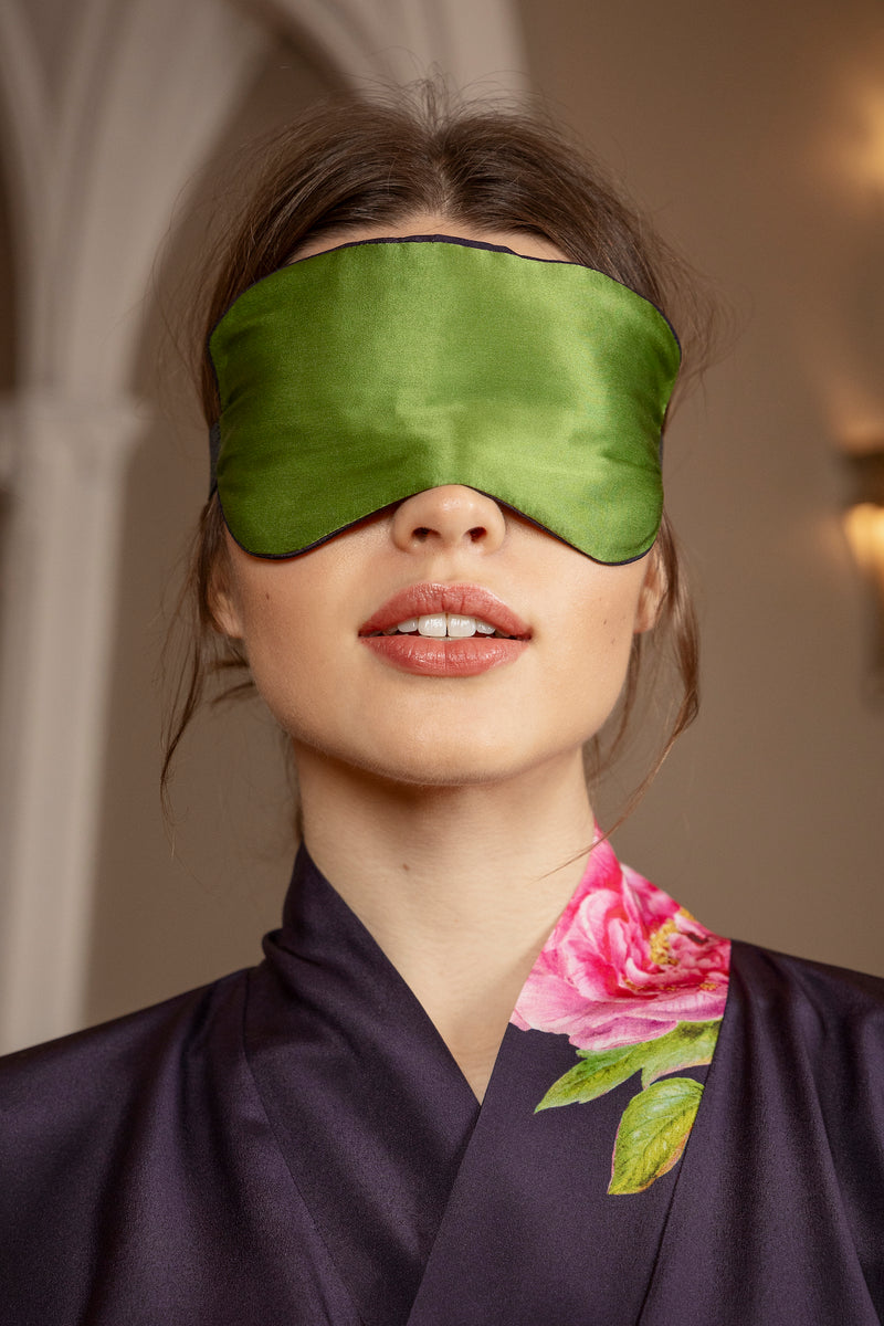 "Silk Eye Mask, Royal Blue and Green ""La Pivoine"" - Castlebird Rose"
