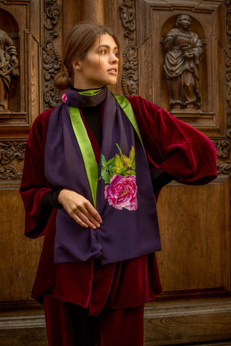 Scarf Midnight Blue and Green ''La Pivoine'' - Castlebird Rose