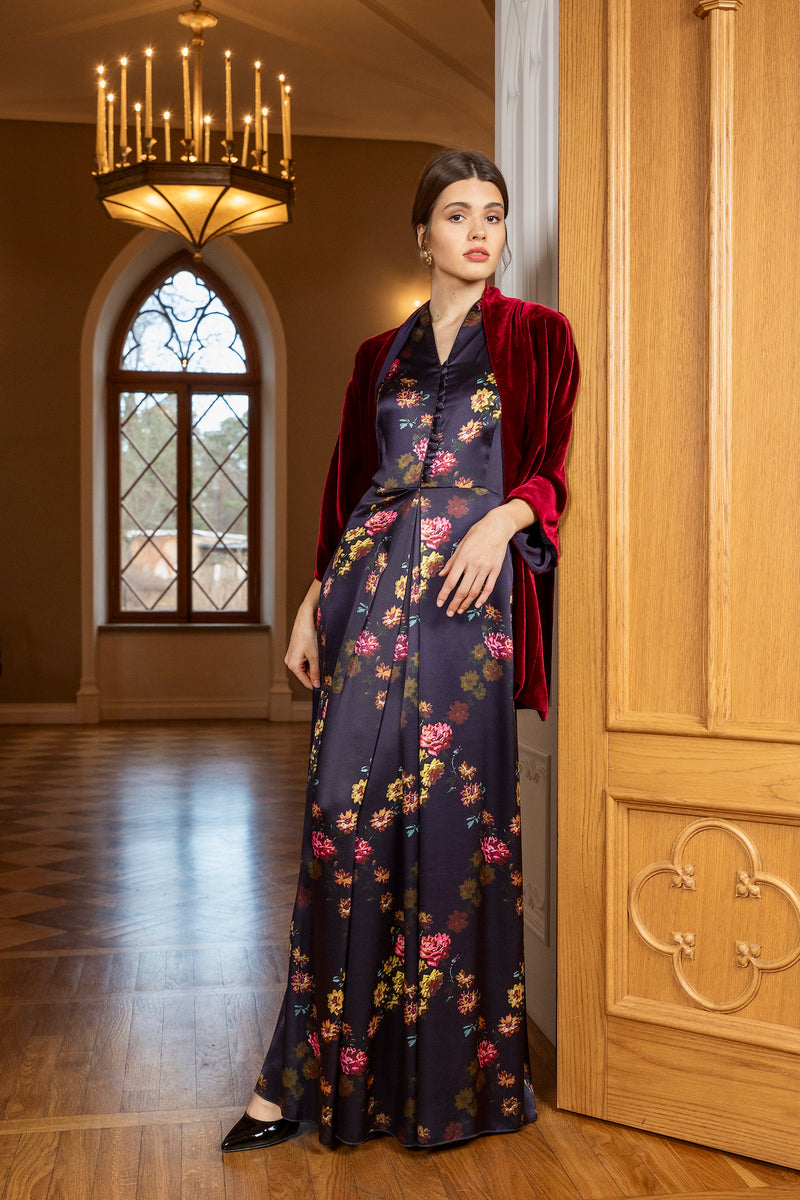 Long semi-casual dress, deep purple ''Paris 1927'' - Castlebird Rose