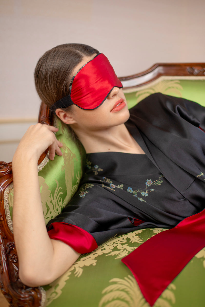"Silk Eye Mask, Black and Red ""Le Perroquet"" - House of Castlebird Rose"