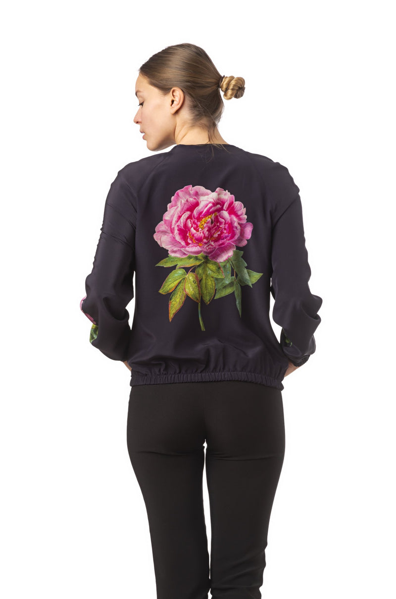 Silk bomber jacket midnight blue ''La Pivoine'' - House of Castlebird Rose