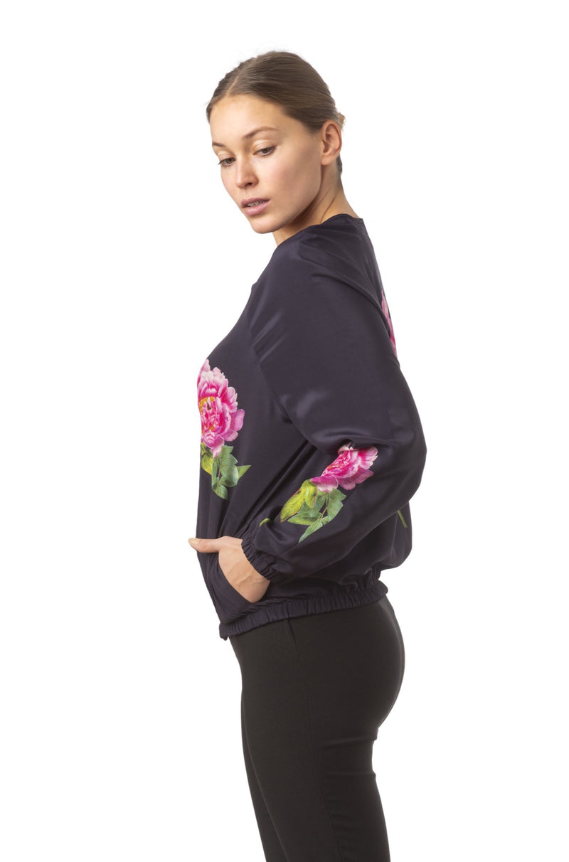 ''La Pivoine'' Silk bomber jacket midnight blue - Castlebird Rose