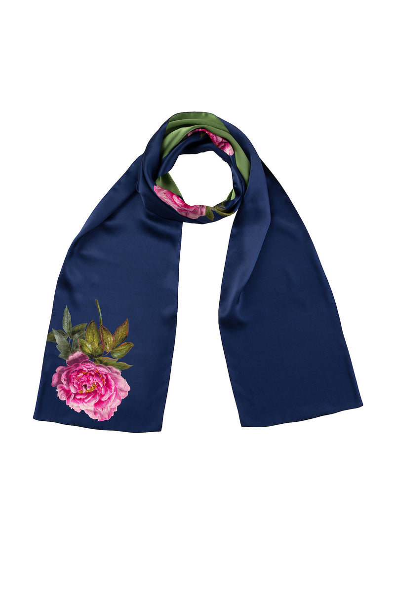 Silk Scarf Royal Blue and Green ''La Pivoine'' - House of Castlebird Rose