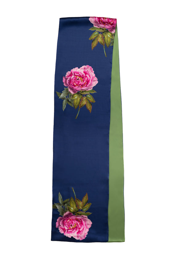 Silk Scarf Royal Blue and Green ''La Pivoine'' - Castlebird Rose