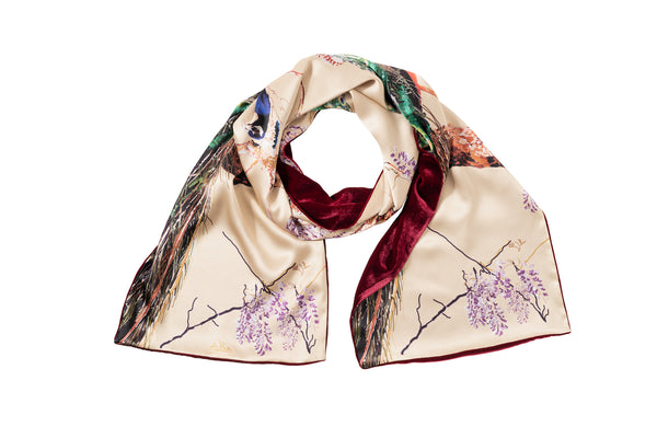 Silk and Velvet Peacock Scarf in Royal Gold - Castlebird Rose