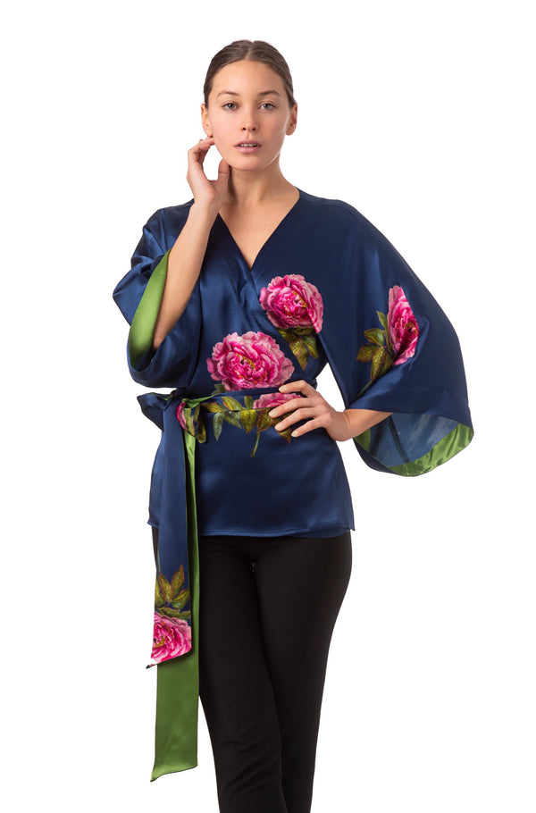 Silk kimono top royal blue ''La Pivoine'' - House of Castlebird Rose