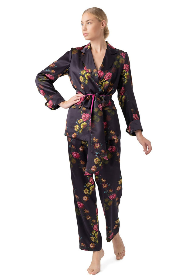 Silk pyjama suit deep purple - Castlebird Rose